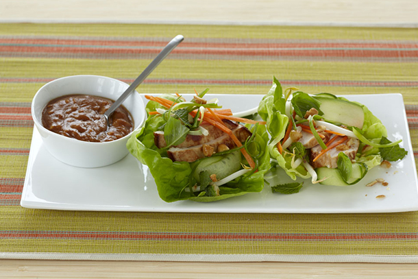 IMUSA Chicken Lettuce Wraps with Spicy Peanut Sauce
