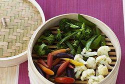 Steamed Veggies with Pineapple Sweet and Sour Dipping Sauce