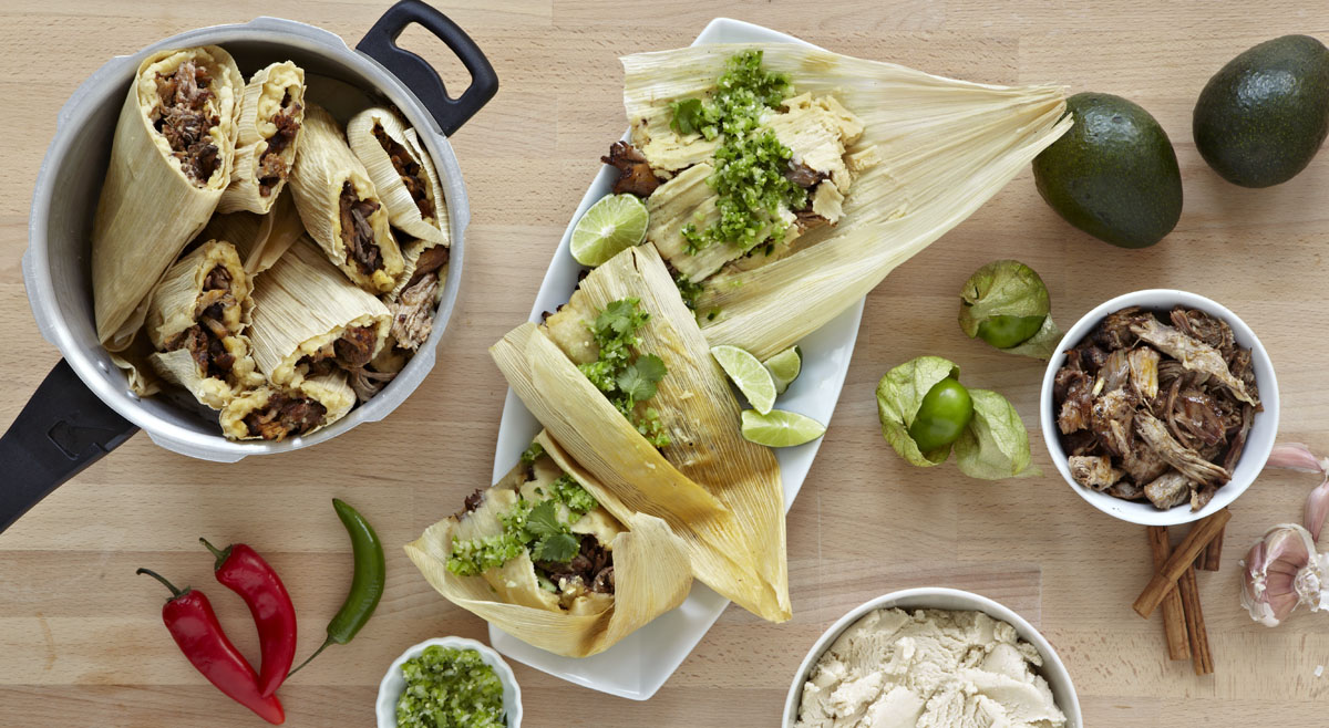 IMUSA Coffee Rubbed Carnitas Tamales with Salsa Verde Recipe