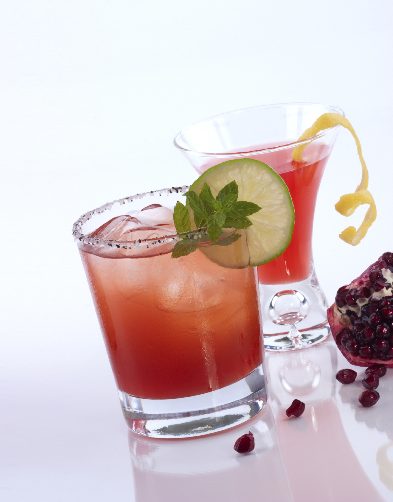 Pomegranate martini and Mojito - Most popular cocktails series