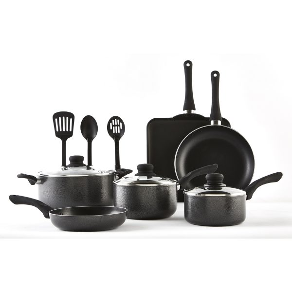 IMUSA 12 Piece Charcoal Cookware Set with Bakelite Handle, Black