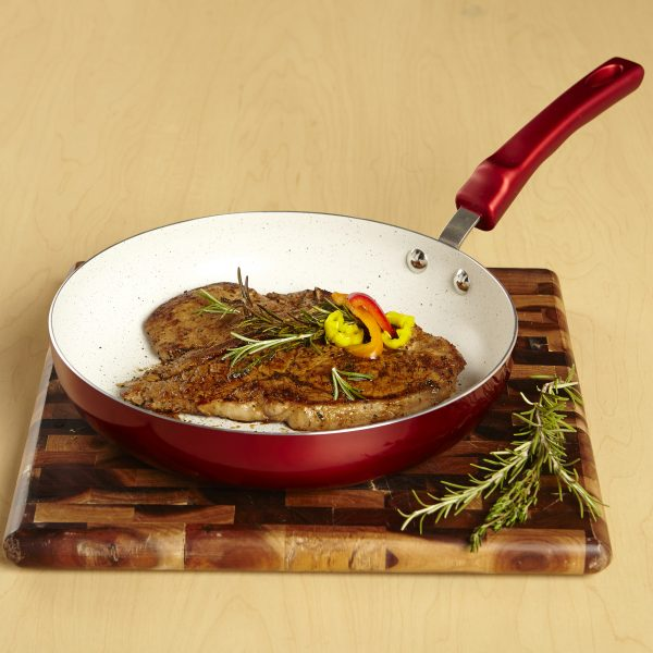 IMUSA Ceramic Nonstick Speckled Saute Pan with Soft Touch Handle 12 Inch, Ruby Red