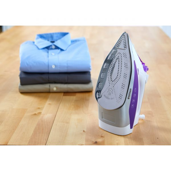 IMUSA Steam Iron with Stainless Steel Soleplate, Purple/White