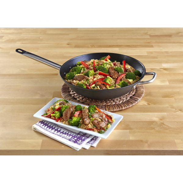"""IMUSA 14"""" Light Cast Iron Wok with Stainless Steel Handles, Black"""