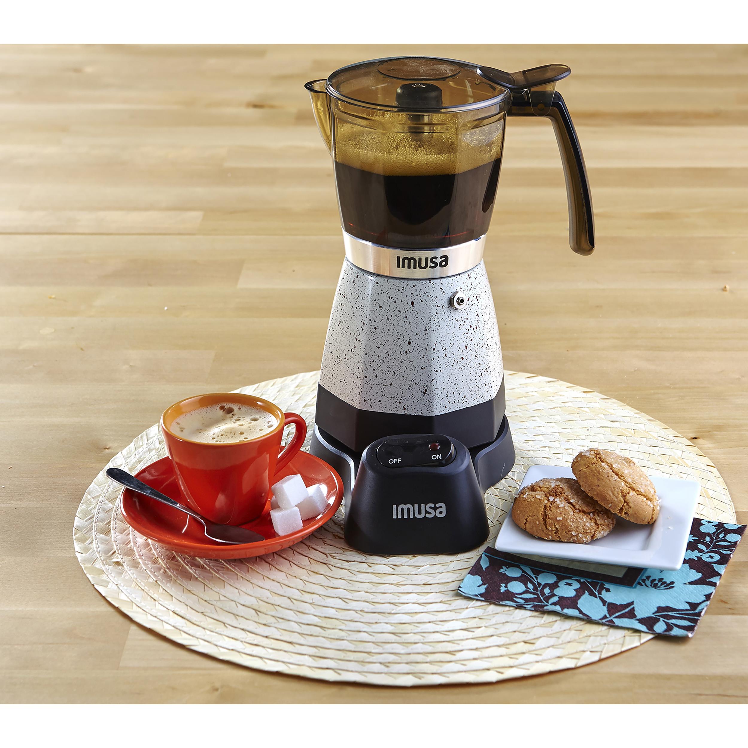 IMUSA Electric Moka Maker 3 cup & 6 cup 480 Watts, Silver