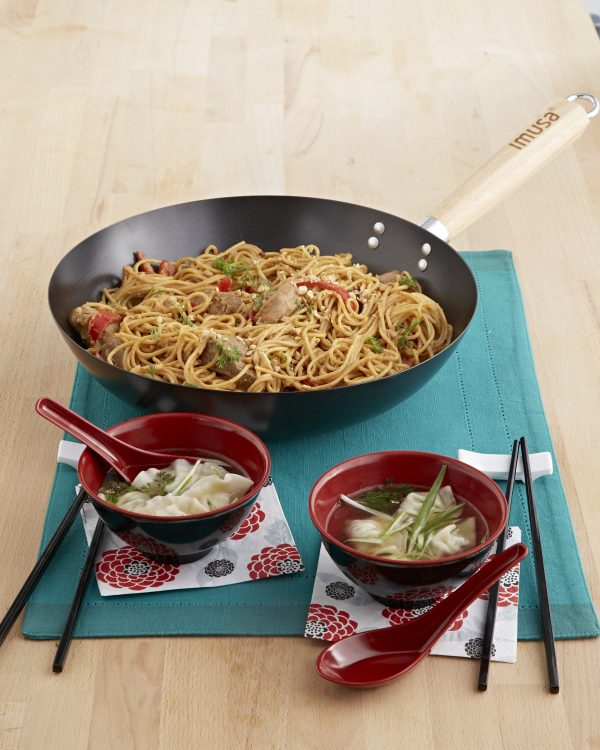 """Global Kitchen 11"""" Non Stick Wok with Wood Handle, Black"""