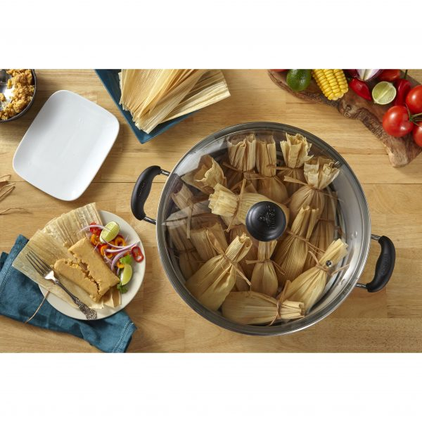 IMUSA Steamer with Glass Lid and Cool Touch Handle 32 Quart