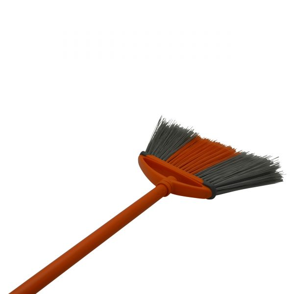 IMUSA Angle Indoor Broom with Rubber Bumpers and Metal Handle, Orange/Grey