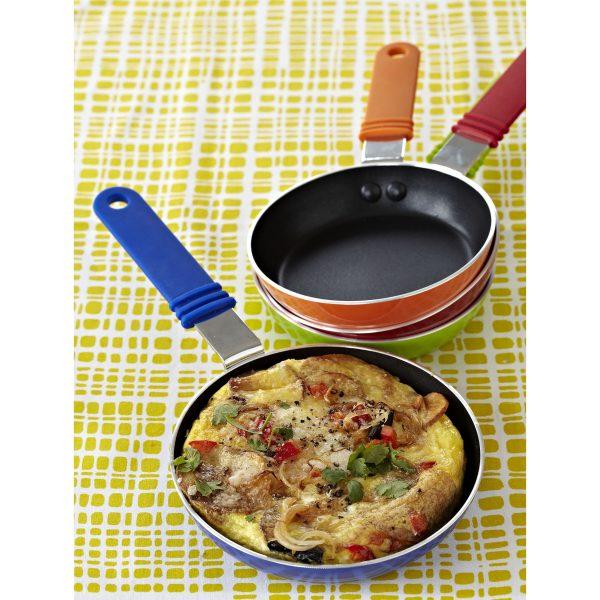 IMUSA Coverless Egg Pan 14 cm, Red/Orange/Black