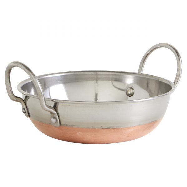 IMUSA Stainless Steel Kadhai with Copper Bottom & Stainless Steel Handles 7 Inches, Silver/Copper