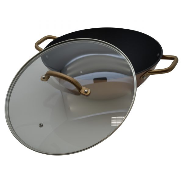 IMUSA Pre-seasoned Light Cast Iron Casserole with Stainless Steel Copper Handle & Glass Lid 11 Inches, Rose Gold/Black