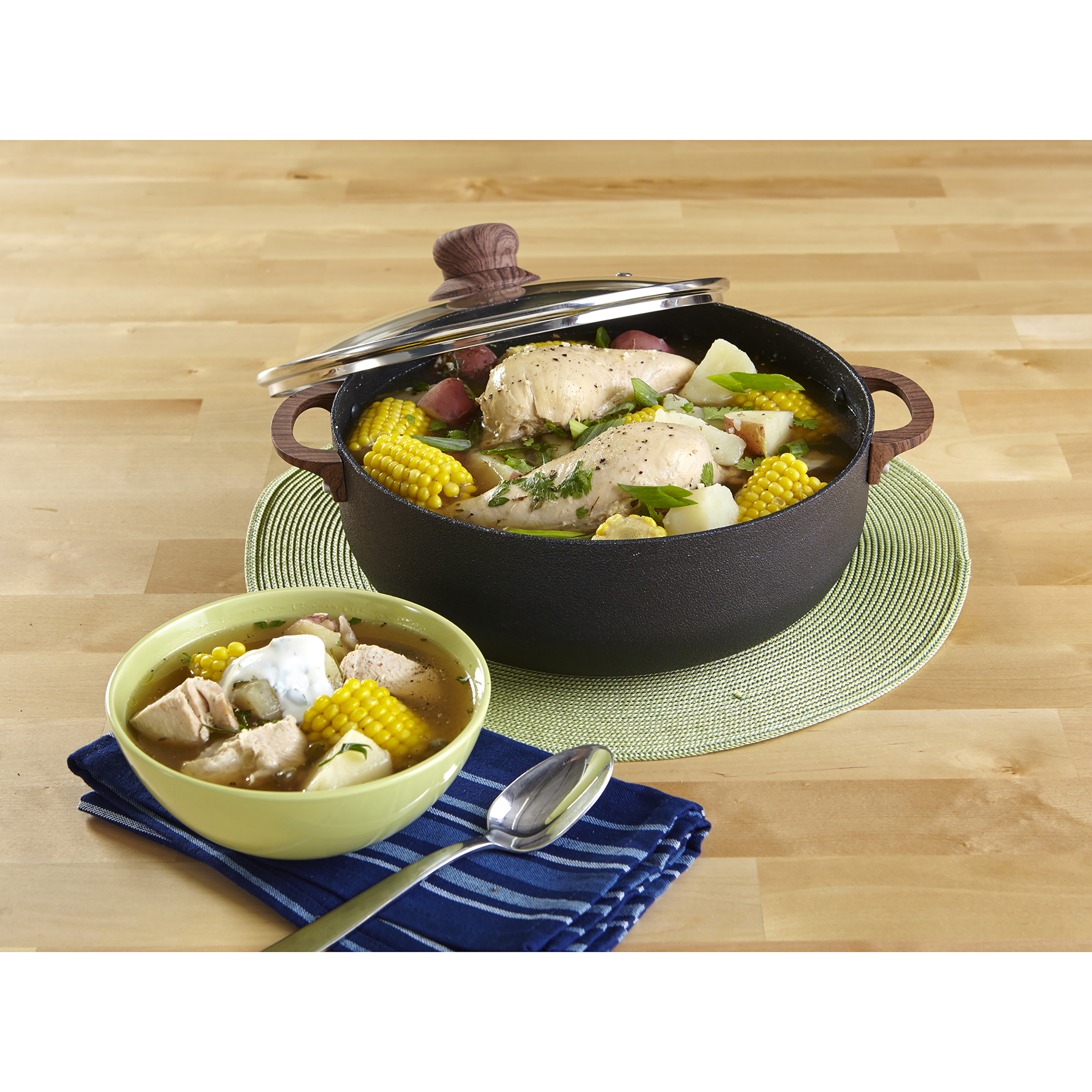 IMUSA Nonstick Spleckled Black Stone Caldero with Tempered Glass Lid and Woodlook Soft Touch Handles 6.9 Quart, Black
