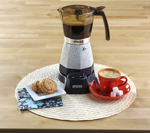 IMUSA Electric Moka Maker 3 cup & 6 cup 480 Watts, White Speckled