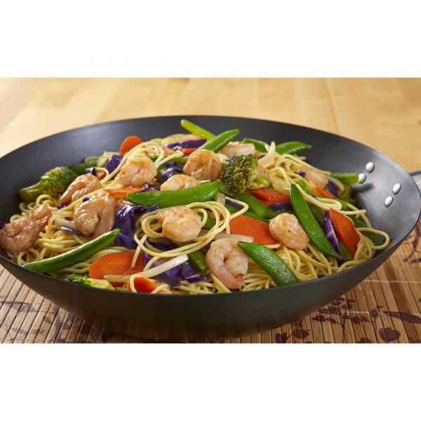 IMUSA 4 Piece Carbon Steel Coated Wok with Soft Touch Woodlook Handle 12 Inches PDQ, Black