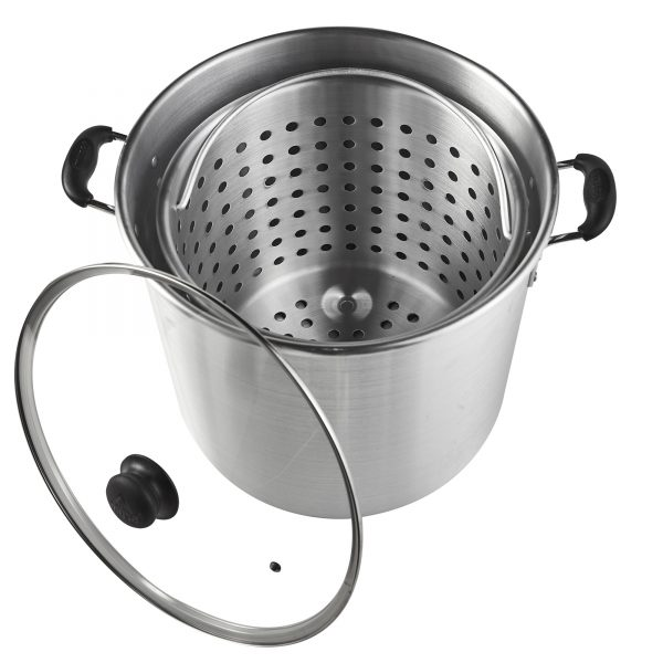 IMUSA Steamer with Glass Lid and Basket 32 Quart