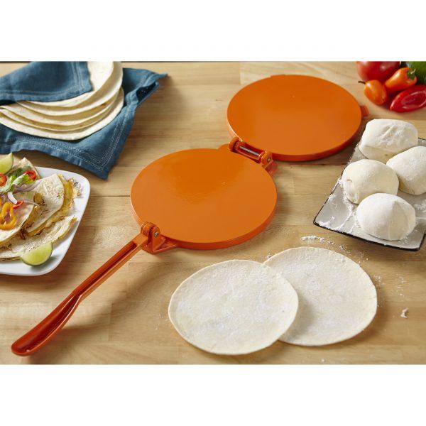 IMUSA Cast Aluminum Tortilla Press 8 Inches, Orange