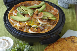 Shrimp Avocado and Caramelized Onion Quesadillas in Sun Dried Tomato Tortilla