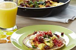 Chorizo Scrambled Egg Taco Breakfast