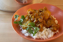 Pink Bean with Rice, Plantains and Pumpkin
