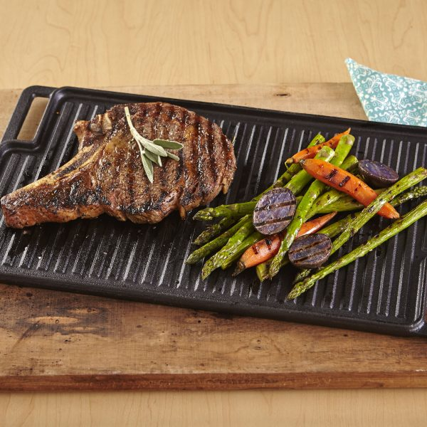 IMUSA Reversible Pre-Seasoned Cast Iron Griddle 12.5 Inch, Black