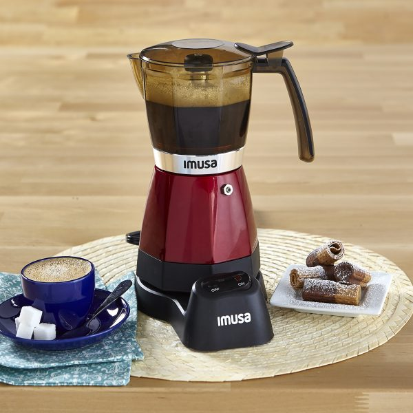 IMUSA Electric Moka Maker 3 cup & 6 cup 480 Watts, Red