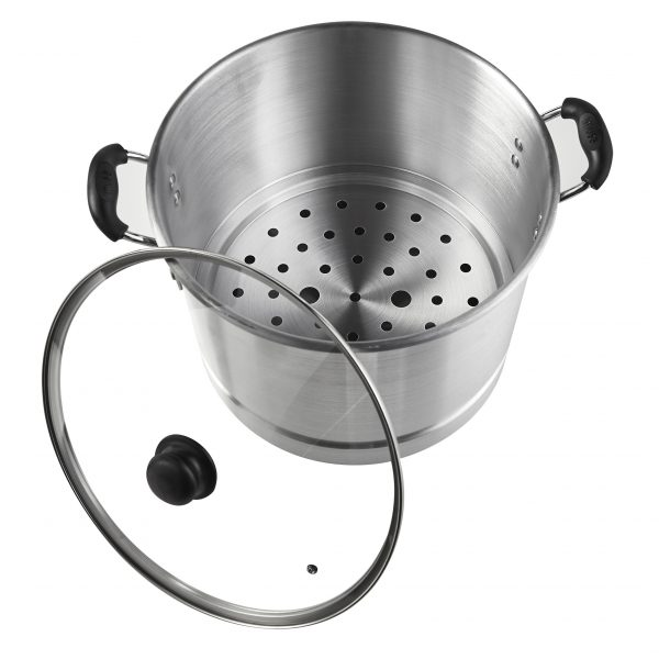 IMUSA Aluminum Steamer with Glass Lid 28 Quart, Silver
