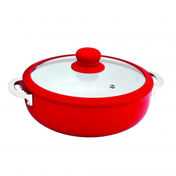 IMUSA Nonstick Ceramic Caldero with Temepered Glass Silicone Rim Lid 6.9 Quart, Red