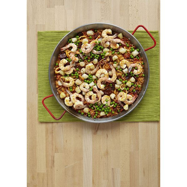 IMUSA Natural Finish Paella Pan 15 Inch, Red