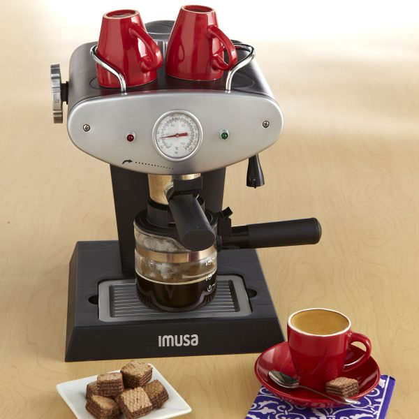 IMUSA Electric Gourmet Espresso/Cappuccino Maker 4 Cup 800 Watts, Grey