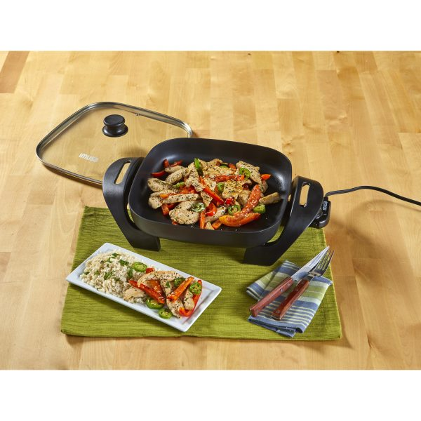 IMUSA Electric Nonstick Cast Aluminum Square Skillet 12 Inches 1200 Watts, Black
