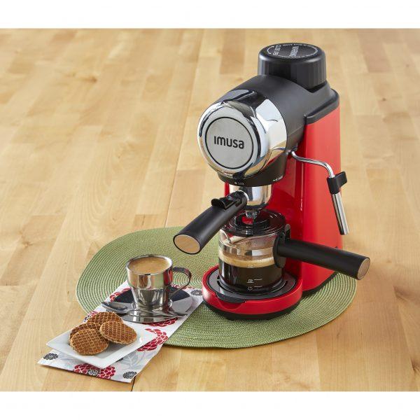 IMUSA Electric Espresso/Cappuccino Maker 4 Cup 800 W, Red