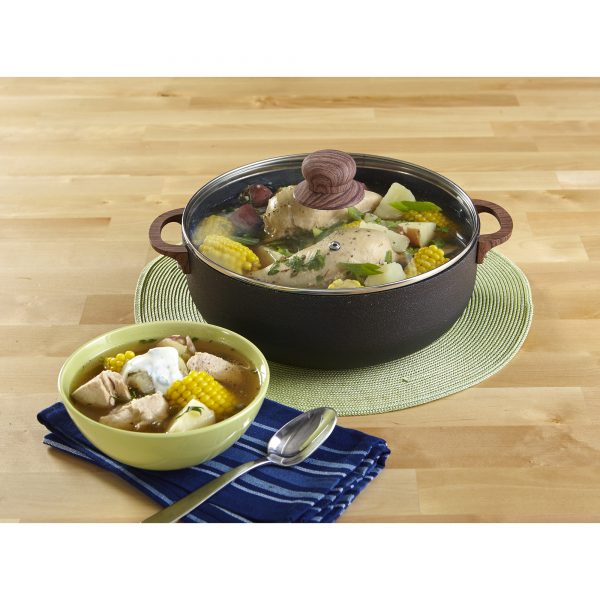 IMUSA Nonstick Spleckled Black Stone Caldero with Tempered Glass Lid and Woodlook Soft Touch Handles 9.0 Quart, Black
