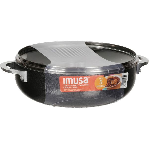 IMUSA Nonstick Hammered Caldero with Glass Lid 3.2 Quart, Charcoal