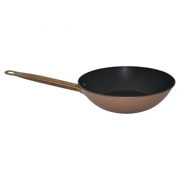 IMUSA Pre-seasoned Light Cast Iron Wok with Stainless Steel Copper Handle & Glass Lid 11 Inches, Rose Gold/Black