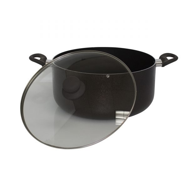 IMUSA Dutch Oven with Glass Lid and Brown Soft Touch Handle 12.7 Quart, Bronzed
