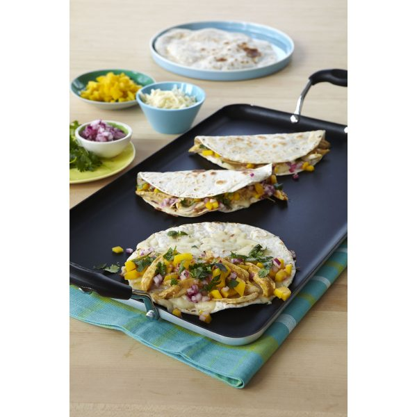 IMUSA Nonstick Double Burner Griddle with Soft Touch Handles, Black