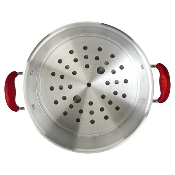 IMUSA Aluminum Steamer with Glass Lid & Soft Touch Handles 20 Quarts, Ruby Red