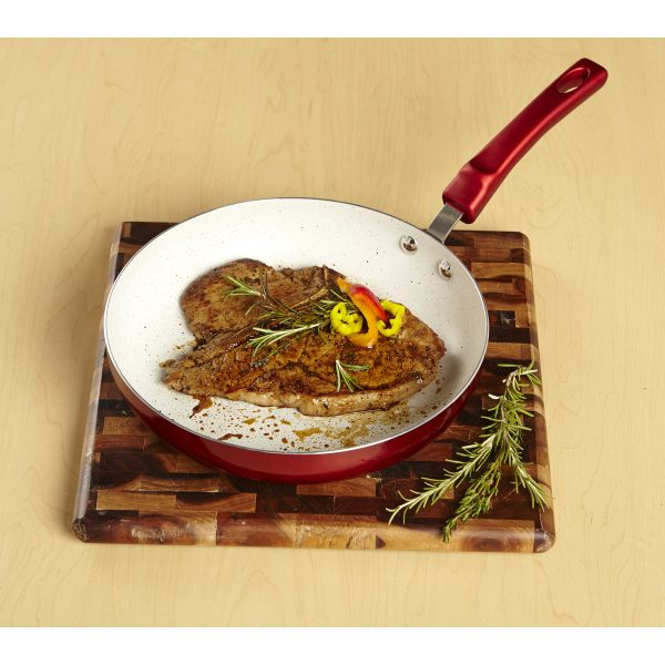 IMUSA Ceramic Nonstick Speckled Saute Pan with Soft Touch Handle 8 Inch, Ruby Red