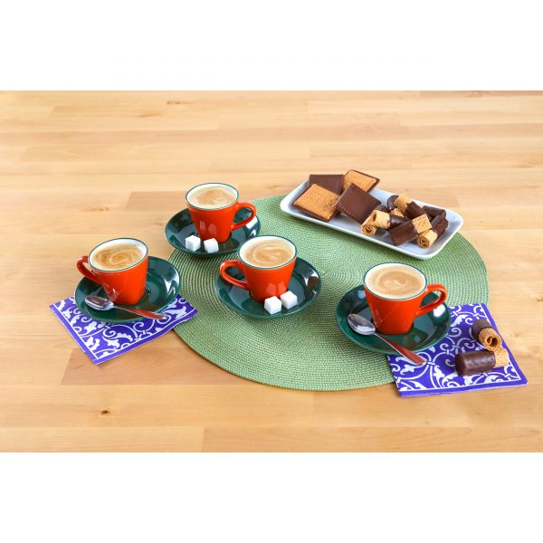 IMUSA 8 Piece Espresso Set, Blue/Orange