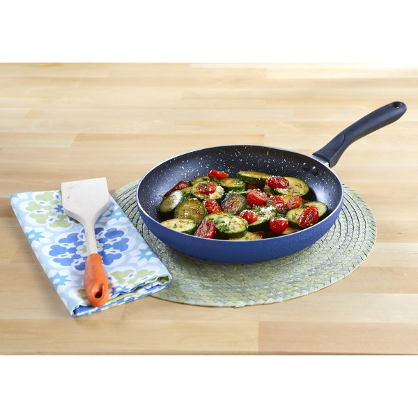 IMUSA Nonstick Speckled Blue Stone Finish Saute Pan with Soft Touch Handle 12 Inch, Blue