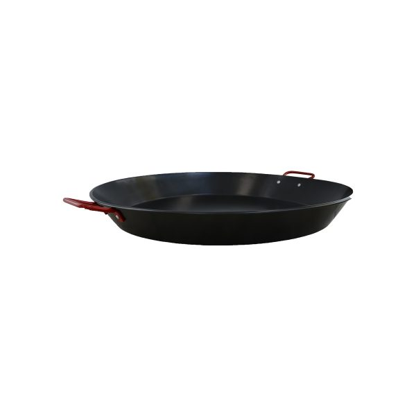 """IMUSA 6"""" Carbon Steel Coated Coated Paella Pan with Red Handle"""