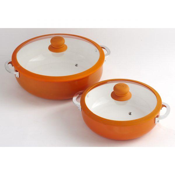 IMUSA Nonstick Two Piece Ceramic Caldero Set with Tempered Glass Silicone Rim Lid 24/30 cm, Orange