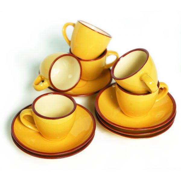 IMUSA 12 Piece Espresso Set with Rack Yellow