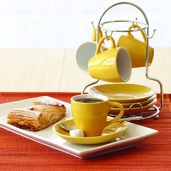 IMUSA 8 Piece Espresso Set with Rack Yellow