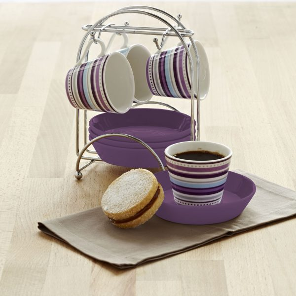 IMUSA 8 Piece Espresso Set with Rack Purple Stripe