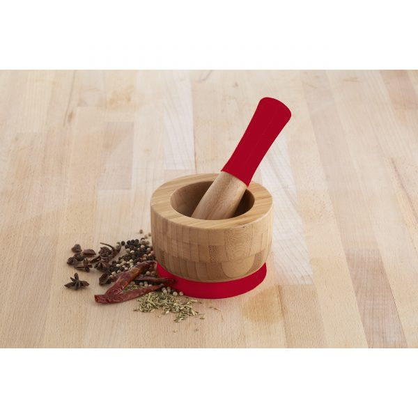 Global Kitchen Bamboo Mortar with Silicone Accents, Red/Tan