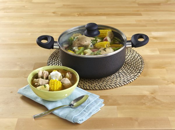 IMUSA Nonstick Dutch Oven with Glass Lid 10 Quart, Charcoal