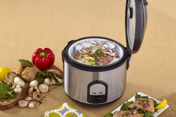 IMUSA Electric Stainless Steel Nonstick Deluxe Rice Cooker 10 Cup 700 Watts