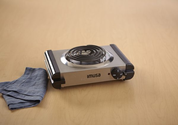 IMUSA Electric Stainless Steel Single Burner 1100 Watts, Silver