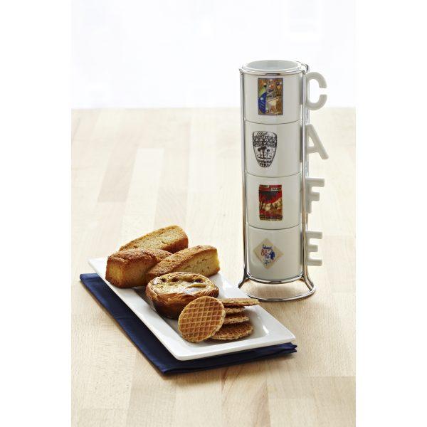 """IMUSA 4 Piece Espresso Set with Rack """"Cuban Cabarets"""""""